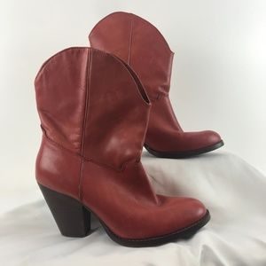 Franco Fortini Short Red Leather Cowboy Boots